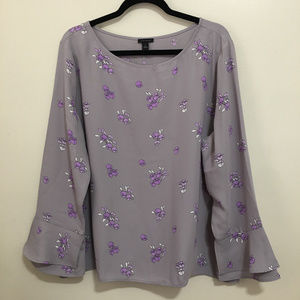 ANN TAYLOR floral ruffled bell sleeve top